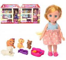 Кукла мал. 63012 4 питомца, миска, аксесс. в короб.