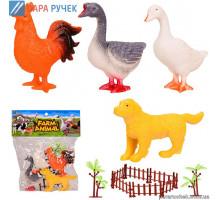 Животные Q901-4 домашние (4шт)+забор, в кульке 23*27см