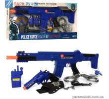 Набор с оружием P018AB полиция, автомат, маска, в кор. 62*28,5см