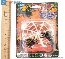 Паутинка с 2-мя паучками на планшете 19-375