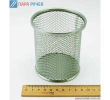 Металлическая подставка-стаканчик для ручек Круглая Серая