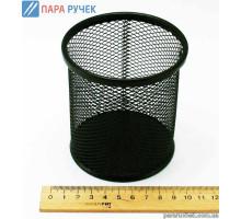 Металлическая подставка-стаканчик для ручек Круглая Черная