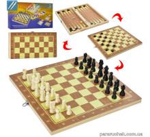 Набор игр 3 в 1 QP02-1 дерево в кор. 35*15см
