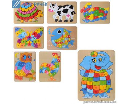 Деревянная игрушка Пазлы MD 2020 животные, буквы, в кульке 30*23см