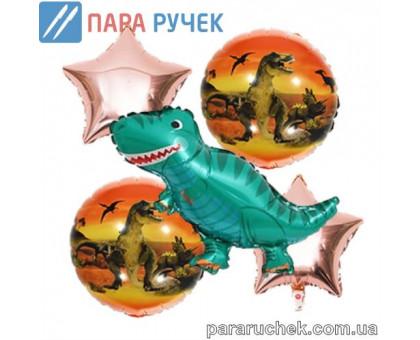 """Шар возд. фольга """"Динозавр"""" 403 золотой н-р 5шт."""