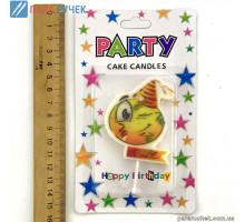 """Свеча для торта """"Смайлик PARTY"""""""
