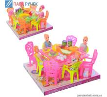 Столовая А8-6А-7А куклы-4шт, стол, стулья, посуда в слюде